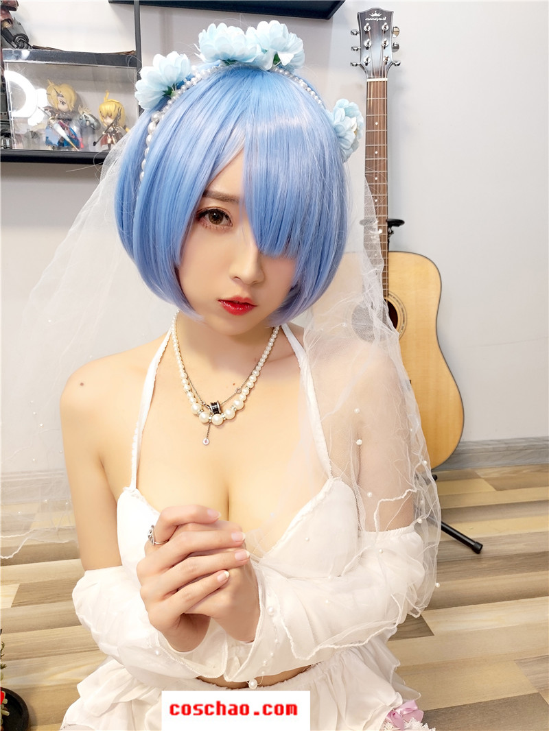 斗鱼网红主播女巫露娜-COSPLAY雷姆婚纱29P